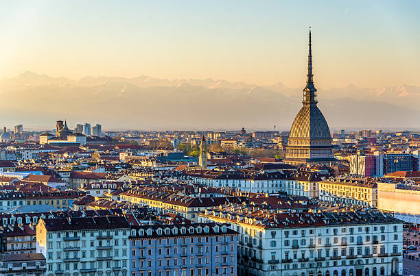 Panoramic vista of Turin, Italy - in the evening light stock photo