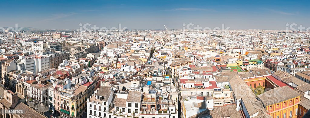 Panoramic vista over rooftops of Seville stock photo