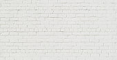 Panoramic White Brick Wall. Abstract Brickwall Background Texture. Restoring Old Brick Wall Painted Whitewash. Grunge Wide Angle Wallpaper or Web banner With Copy Space For design