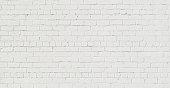 パノラマの白いレンガ壁の背景