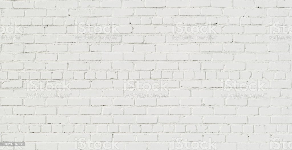 Panoramic White Brick Wall Background stock photo
