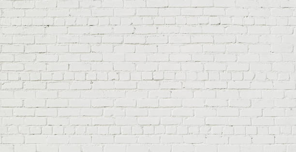 panoramic white brick wall background - wall foto e immagini stock