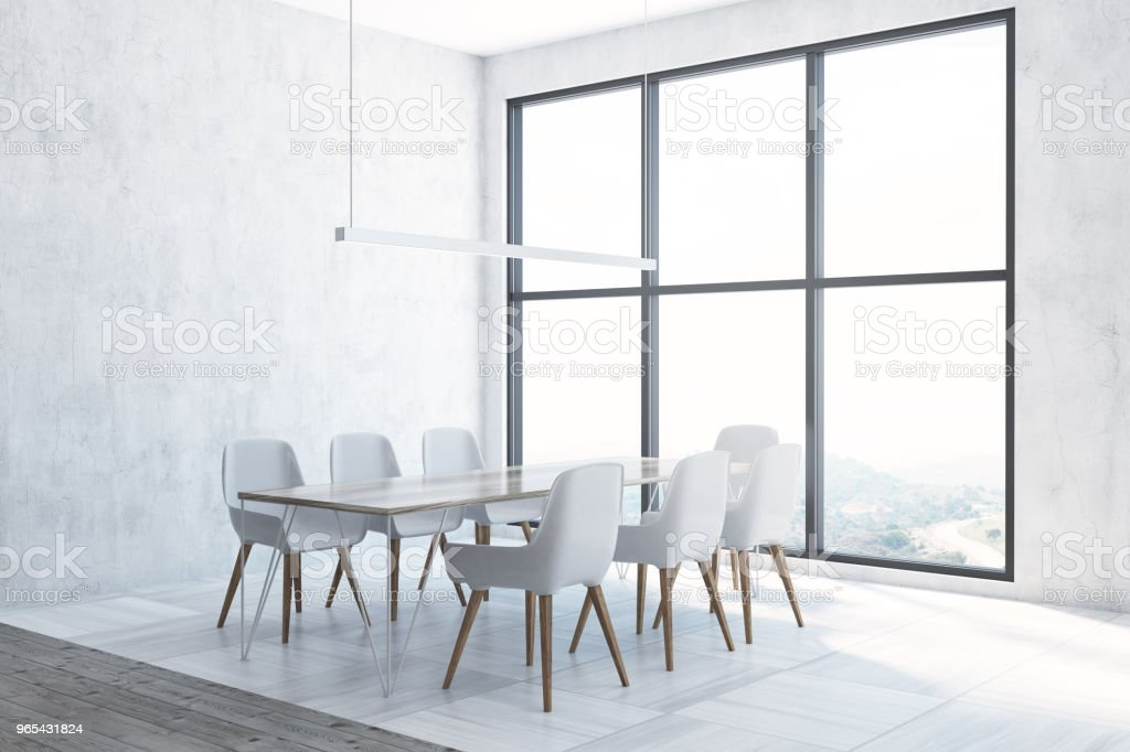 Panoramic white dining room corner zbiór zdjęć royalty-free