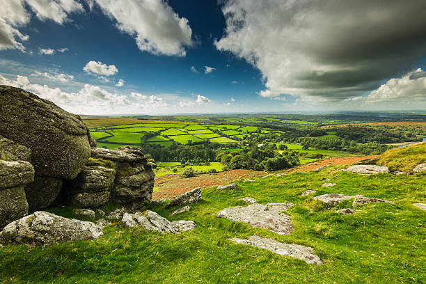 panoramic wide view from dartmoor tor - outcrop stock pictures, royalty-free photos & images
