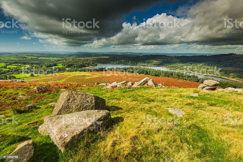 Panoramic wide view from Dartmoor Tor stock photo