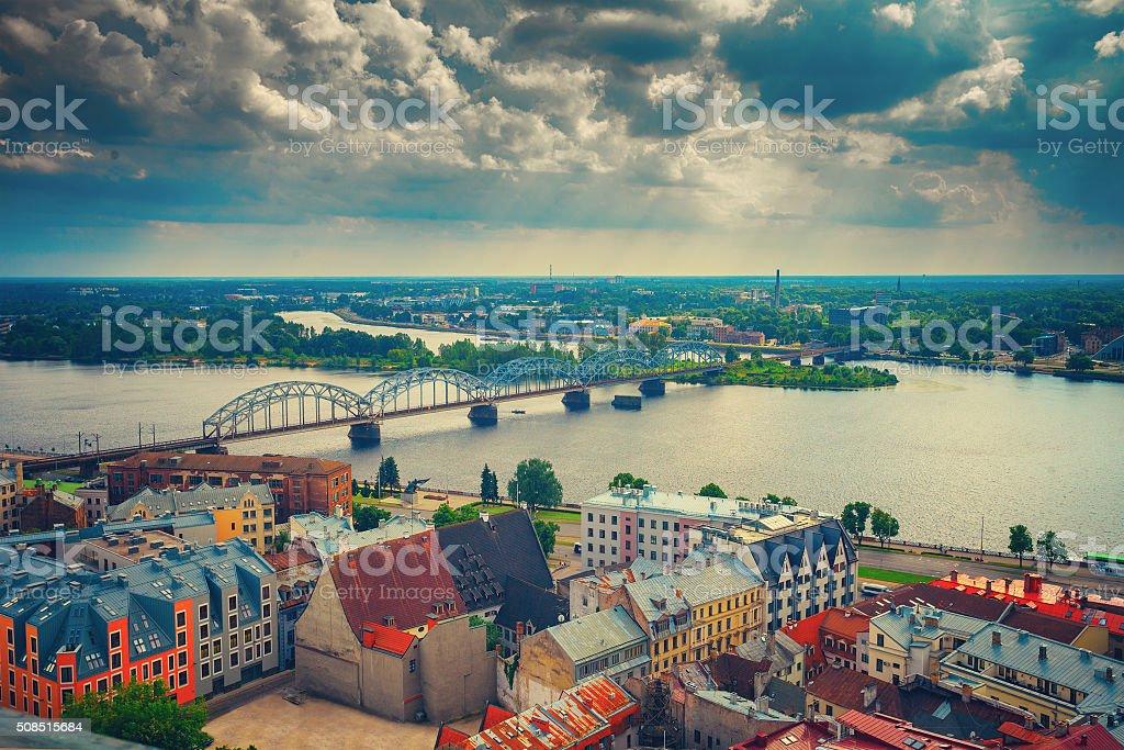 Panoramic wiev of Riga city stock photo
