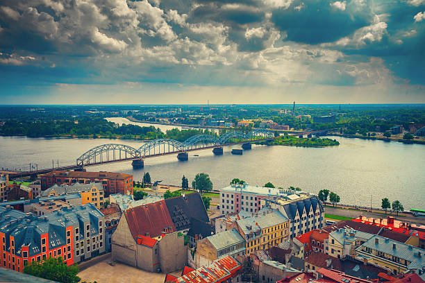 Panoramic wiev of Riga city stock photo