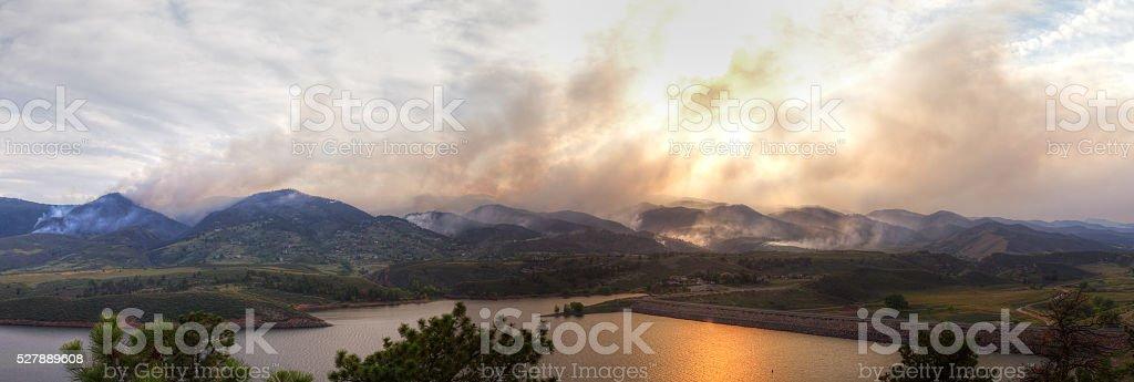 Panoramic Wildfire Landscape stock photo