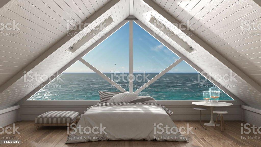 Panoramic window on open sea ocean, mezzanine loft, bedroom with relaxing double bed, minimalist scandinavian interior design stock photo