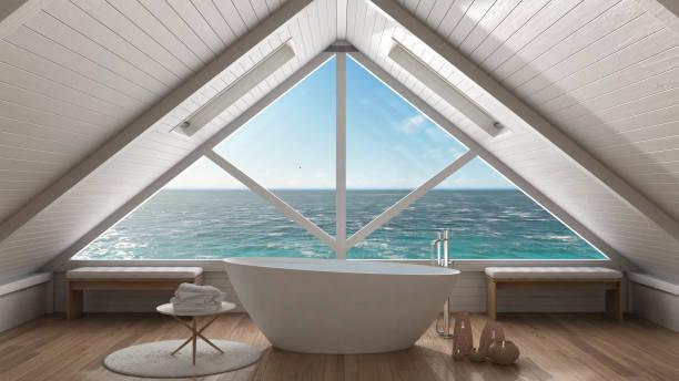panorama-fenster auf offenem meer ozean, mezzanine-loft, wellness-bad, minimalistischen skandinavischen interieur-design - badewannenkissen stock-fotos und bilder