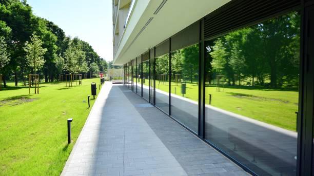 Panoramic windows of new commercial premises. stock photo