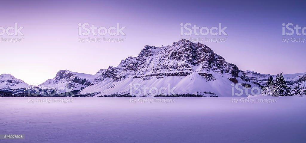 Panoramic Winter Sunrise Bow Lake stock photo