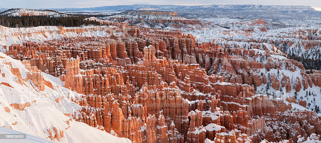 Panoramic Winter Sunrise over Bryce Canyon National Park royalty-free stock photo