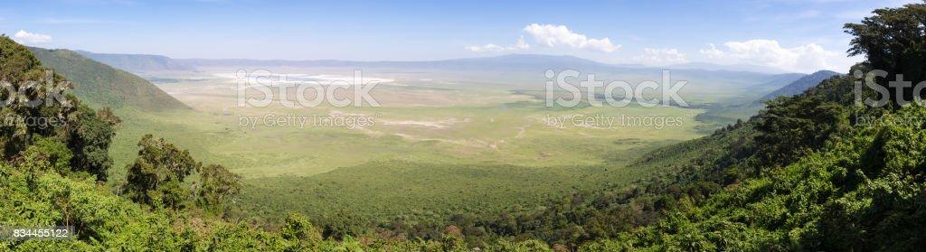 Panoramiv view of volcanic crater of Ngorongoro, Tanzania, Africa. stock photo