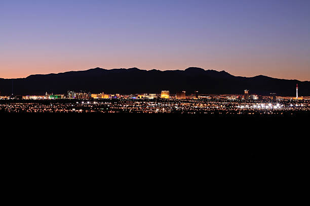 panorma of las vegas lights - distant stock photos and pictures