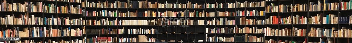 istock Panorma view of book shelves 871730448