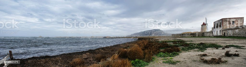 Panorma whit old windmill and sea at Trapani- Sicily stock photo