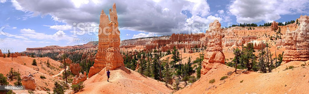 Panormic view of Bryce Amphitheater from Queens Garden Trail stock photo