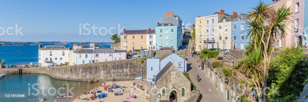 Panoromafoto van Tenby, Wales, UK foto