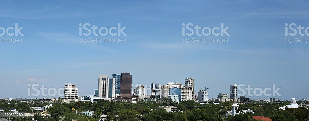 Panoromic view of downtown Fort Lauderdale, Florida stock photo