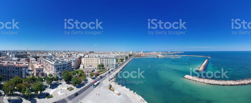 Panroama of Bari, cityscape of old town and seafront - Stock image stock photo