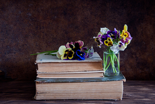 Pansies and old books