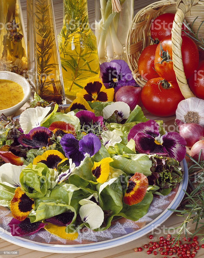 Pansy Flower Salad royalty-free stock photo