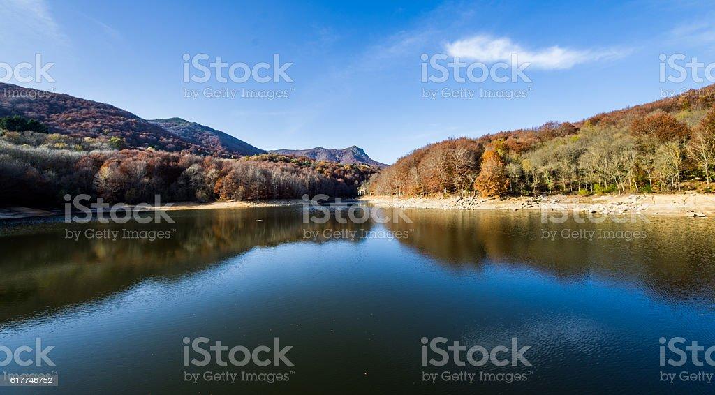 panta de santa fe montseny catalunya forest mountain lake stock photo