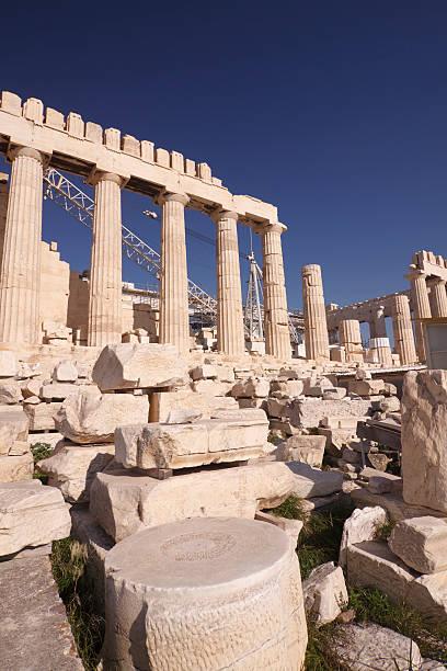 Panthenon under reconstruction, Acropolis Athens stock photo