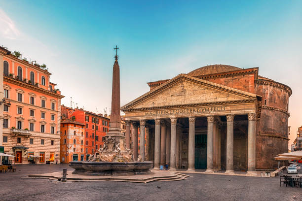 Pantheon and fountain in Rome The Roman Pantheon is the most preserved and influential building of ancient Rome. It is a Roman temple dedicated to all the gods of pagan Rome. place of worship stock pictures, royalty-free photos & images