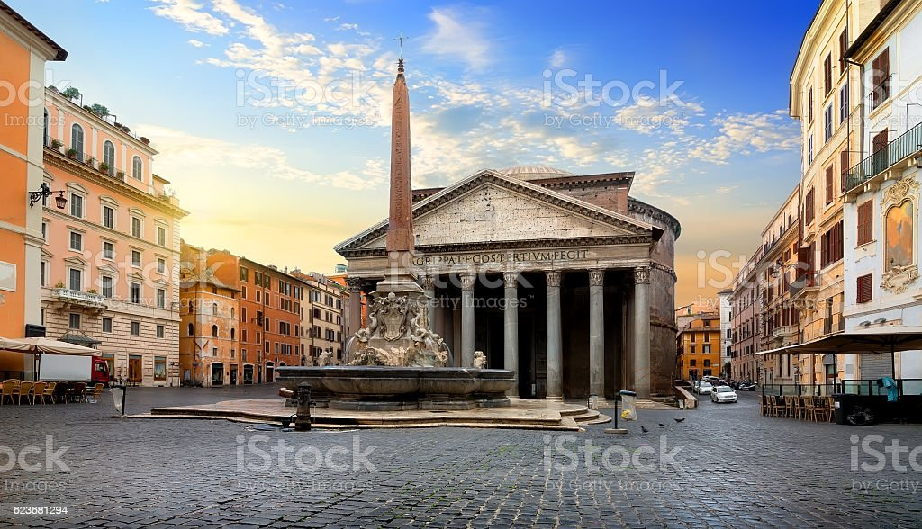 Pantheon and fountain stock photo