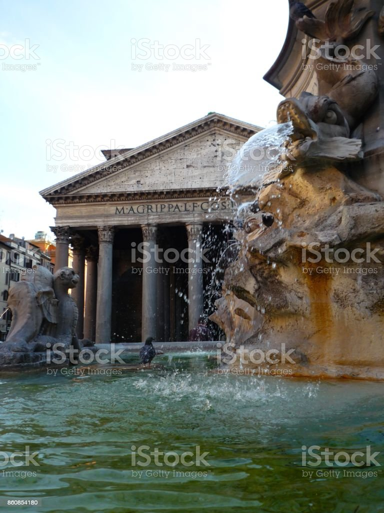 Pantheon and fountain,rome stock photo
