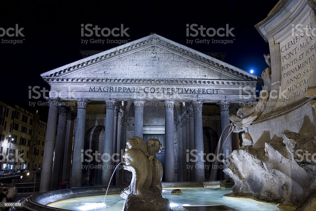 Pantheon at Night stock photo