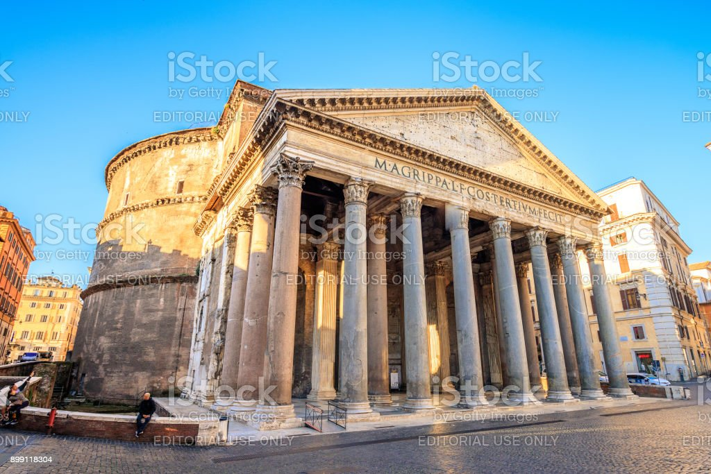 Pantheon at sunrise, Rome, Italy, Europe. Rome ancient temple of all the gods. Rome Pantheon is one of the best known landmarks of Rome and Italy stock photo