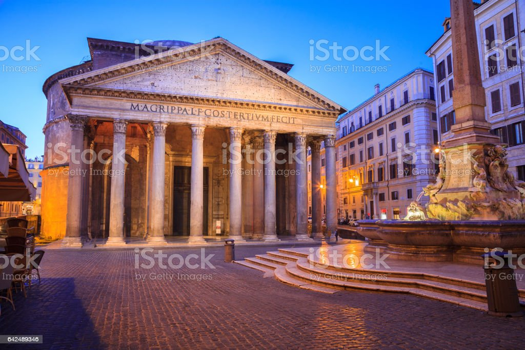 Pantheon at sunrise, Rome stock photo