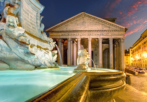 Pantheon by night, Rome Italy