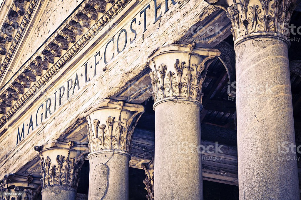 Pantheon Colonnade, Rome stock photo