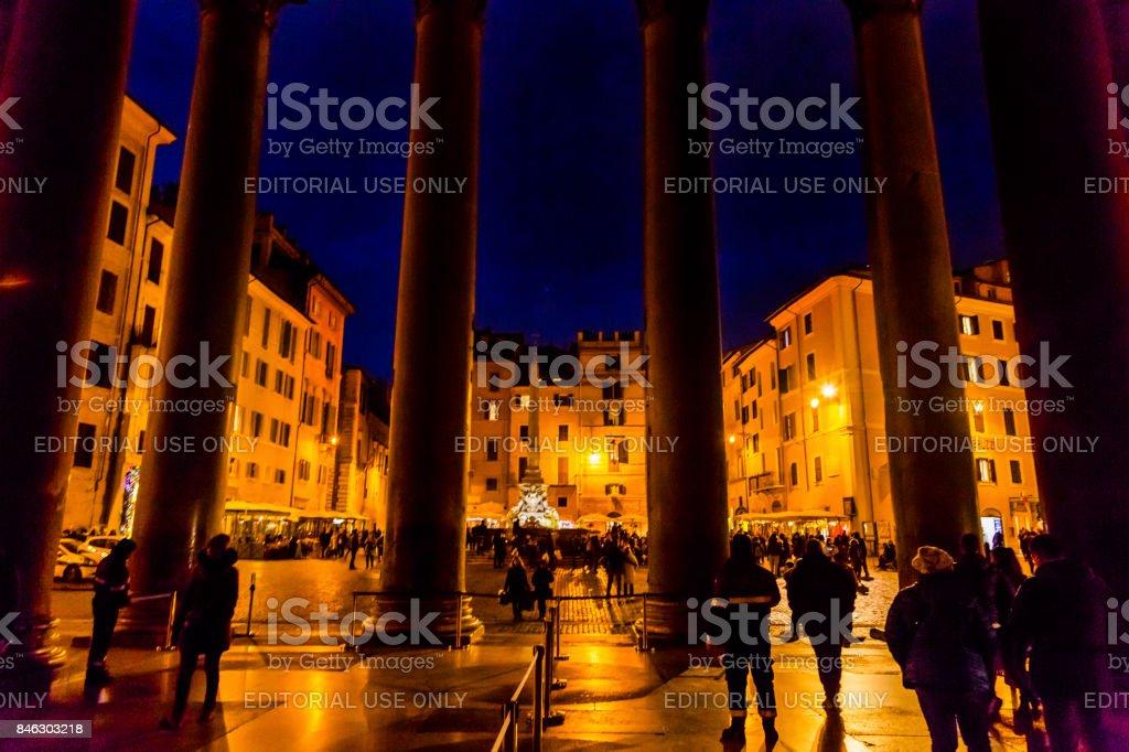 Pantheon Columns Della Porta Fountain Piazza Rotunda Rome Italy stock photo
