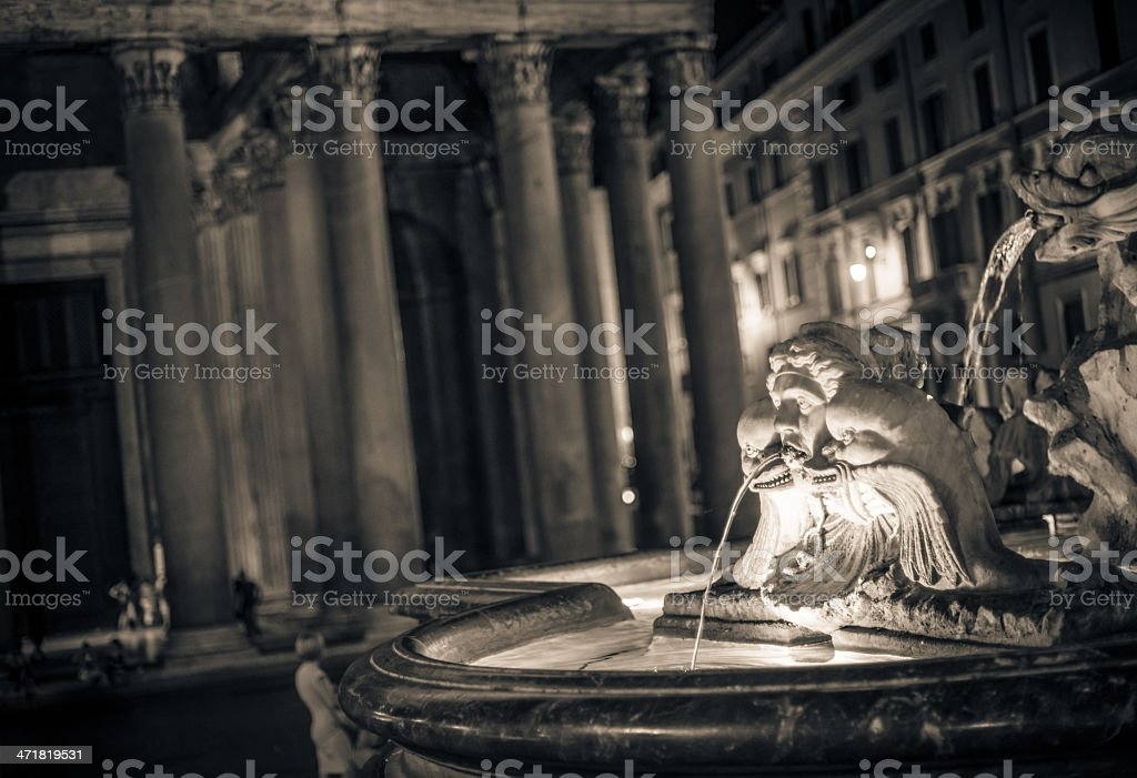 Pantheon Fountain in Rome royalty-free stock photo