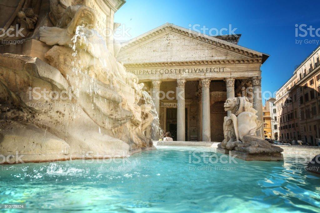 Pantheon Fountain, Rome stock photo