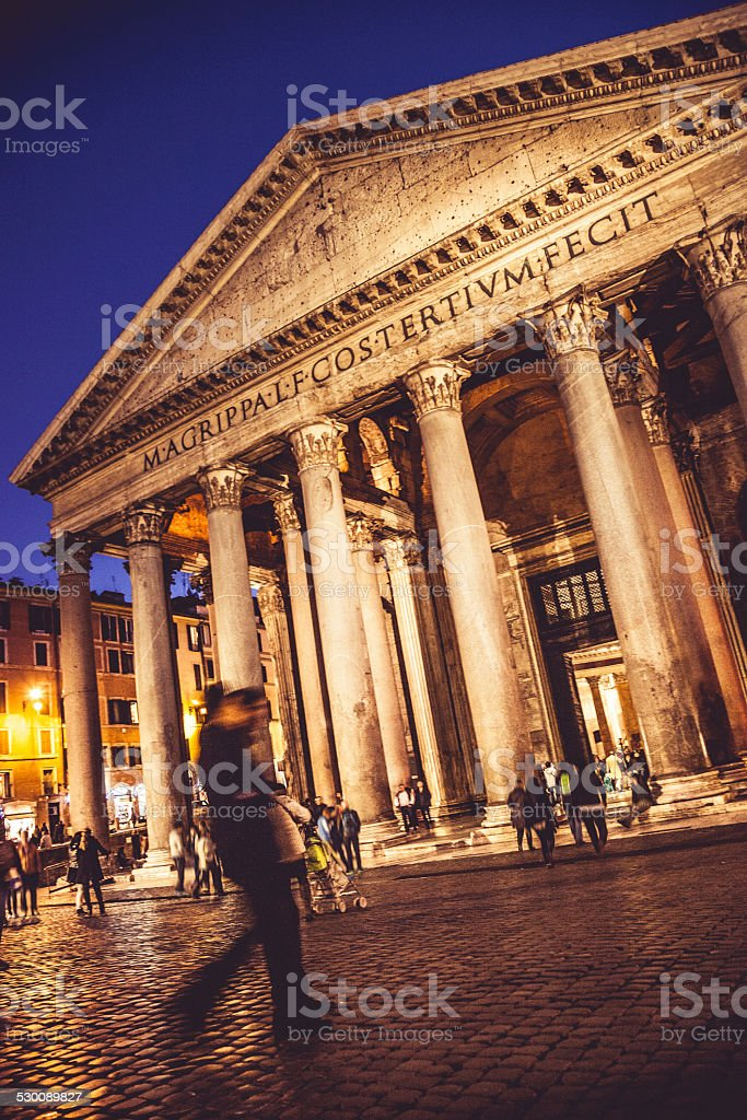 Pantheon in Rome and people stock photo