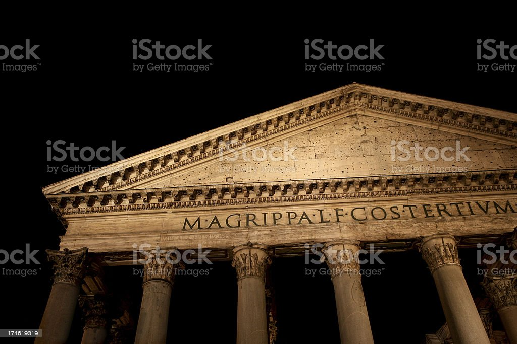 Pantheon in Rome at night, Italy royalty-free stock photo