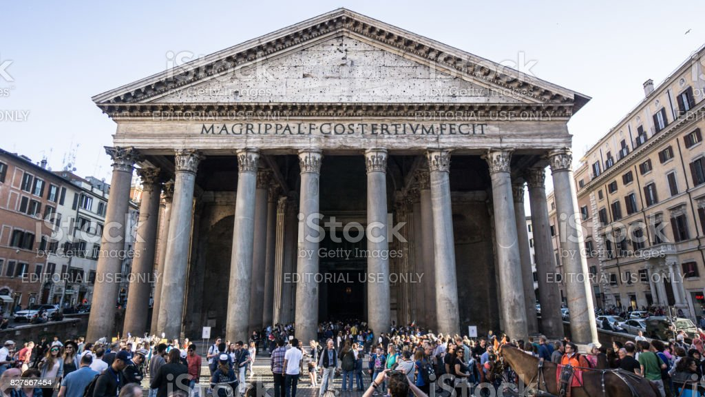 Pantheon in Rome Italy with tourists surrounding the building stock photo