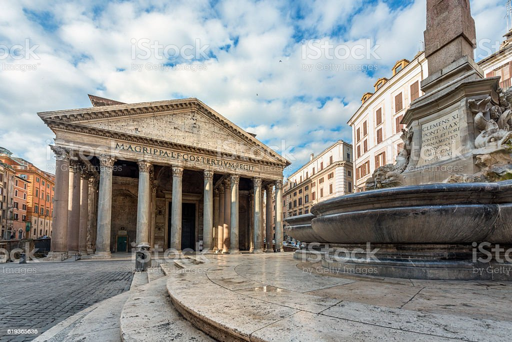 Pantheon in the early morning, Rome Italy stock photo
