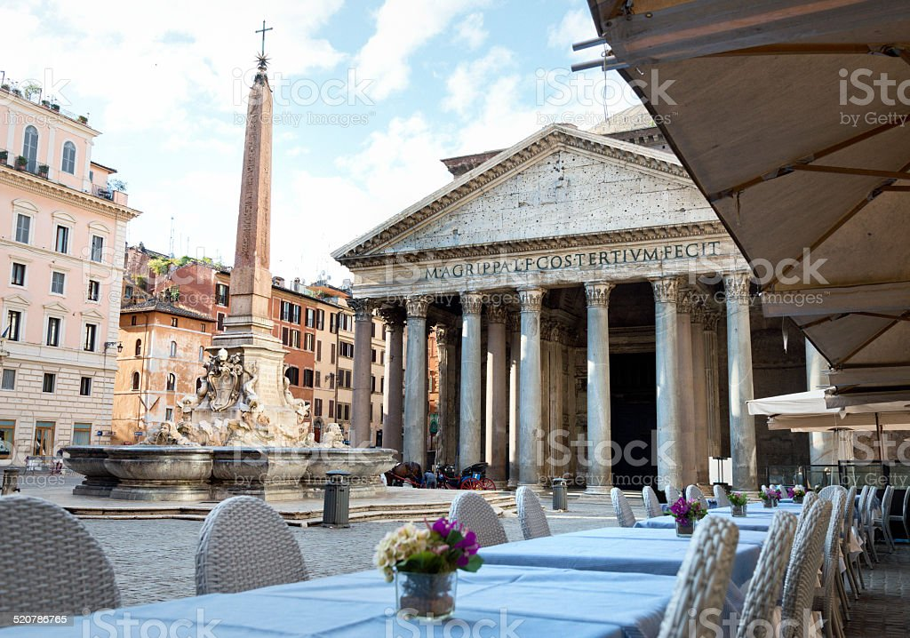 Pantheon in the morning, fountain onPiazza della Rotonda in front. stock photo
