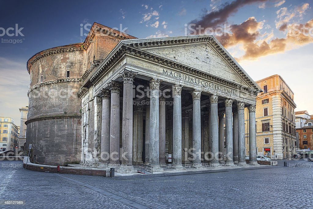 Pantheon in the morning. Rome. Italy. stock photo
