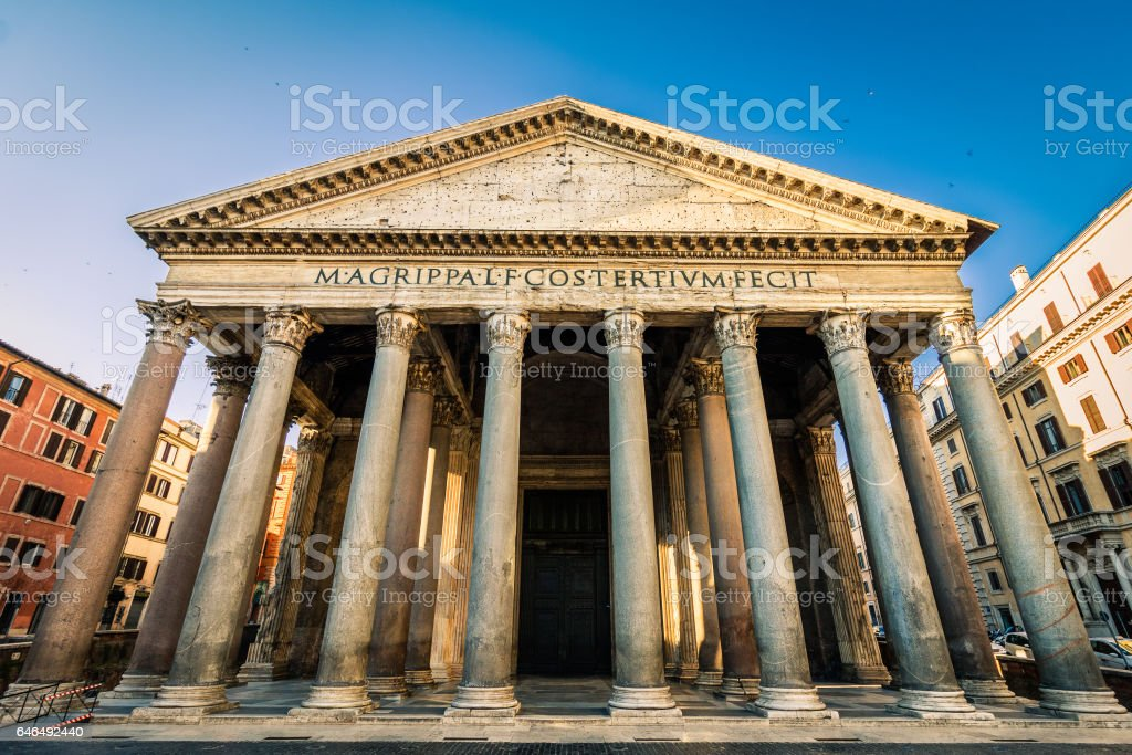 Pantheon in the morning, Rome, Italy stock photo