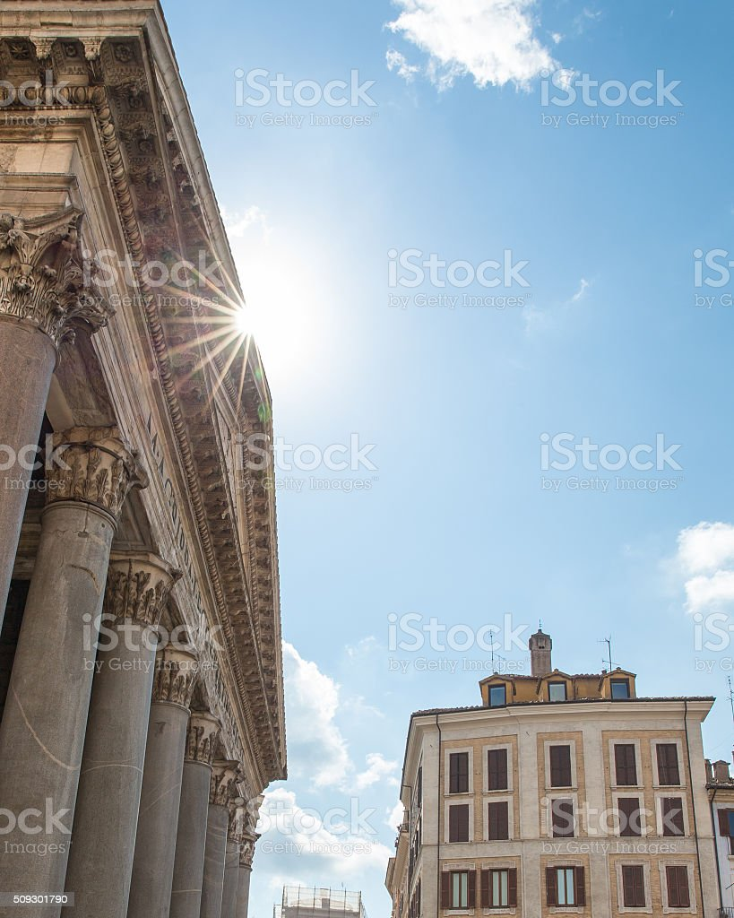 Pantheon Roof with Sun Flare and Copy Space stock photo