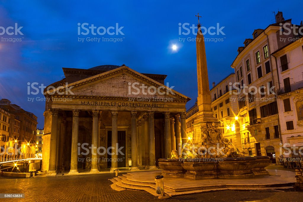 Pantheon under a full moon at twilight royalty-free stock photo
