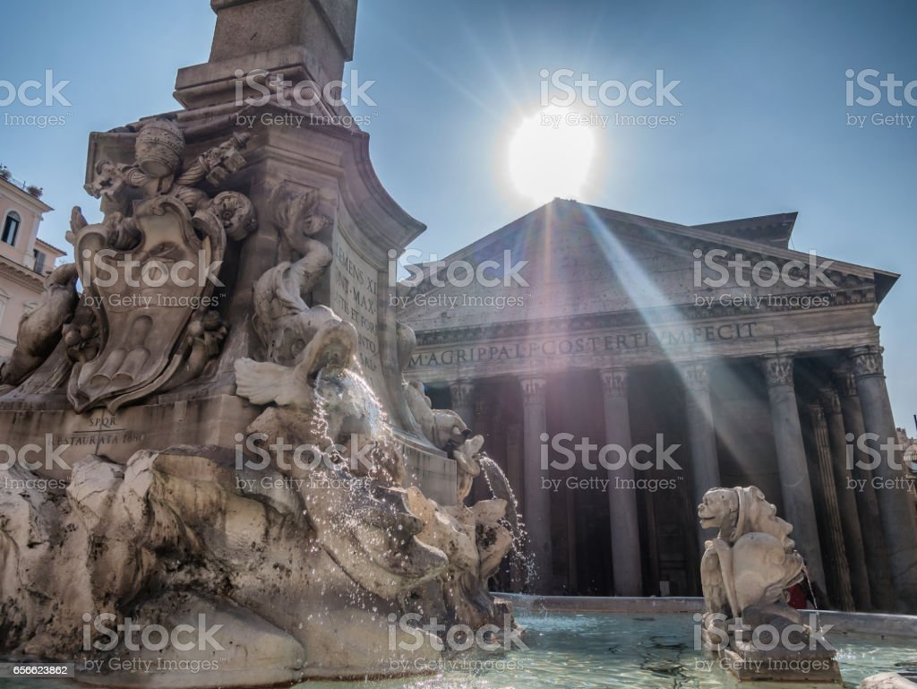 Pantheon with fountain stock photo